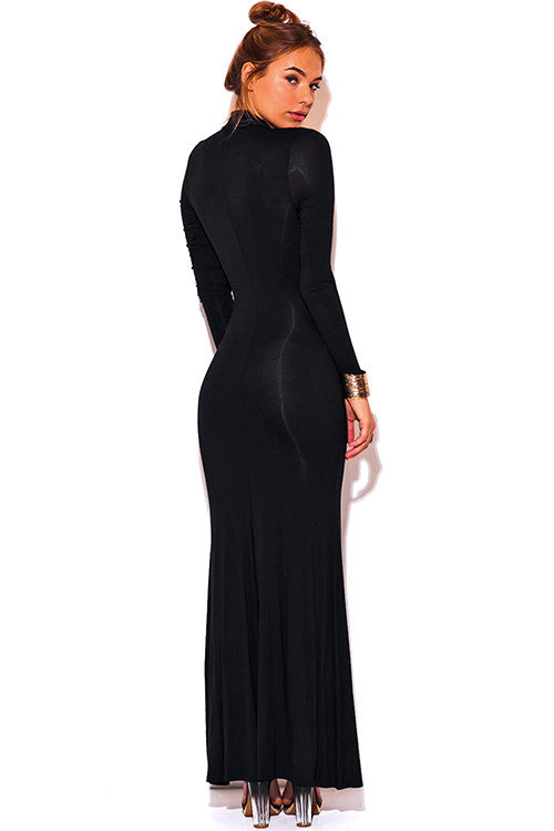 Long Mid Split Red Carpet Dress Black -  - Dress - COME SHOP WITH LOVE - 4