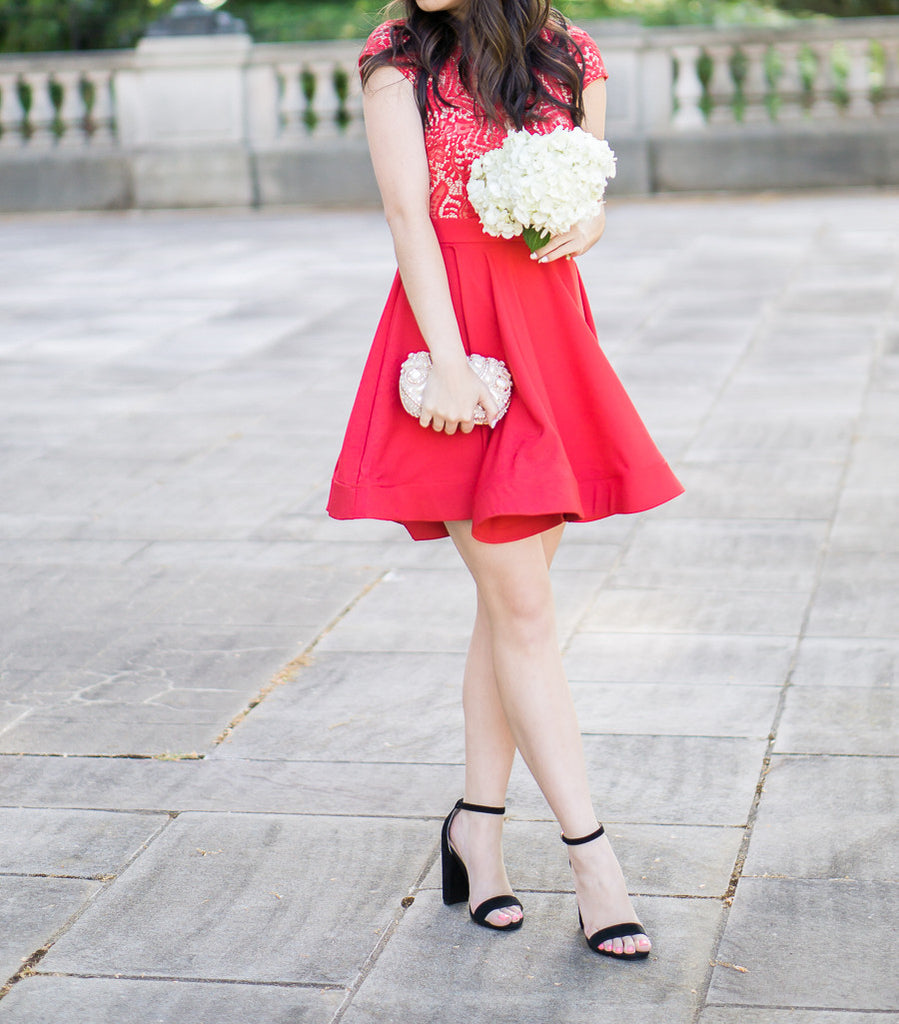 Scalloped Bright Red Lace Dress -  - Dress - COME SHOP WITH LOVE - 7