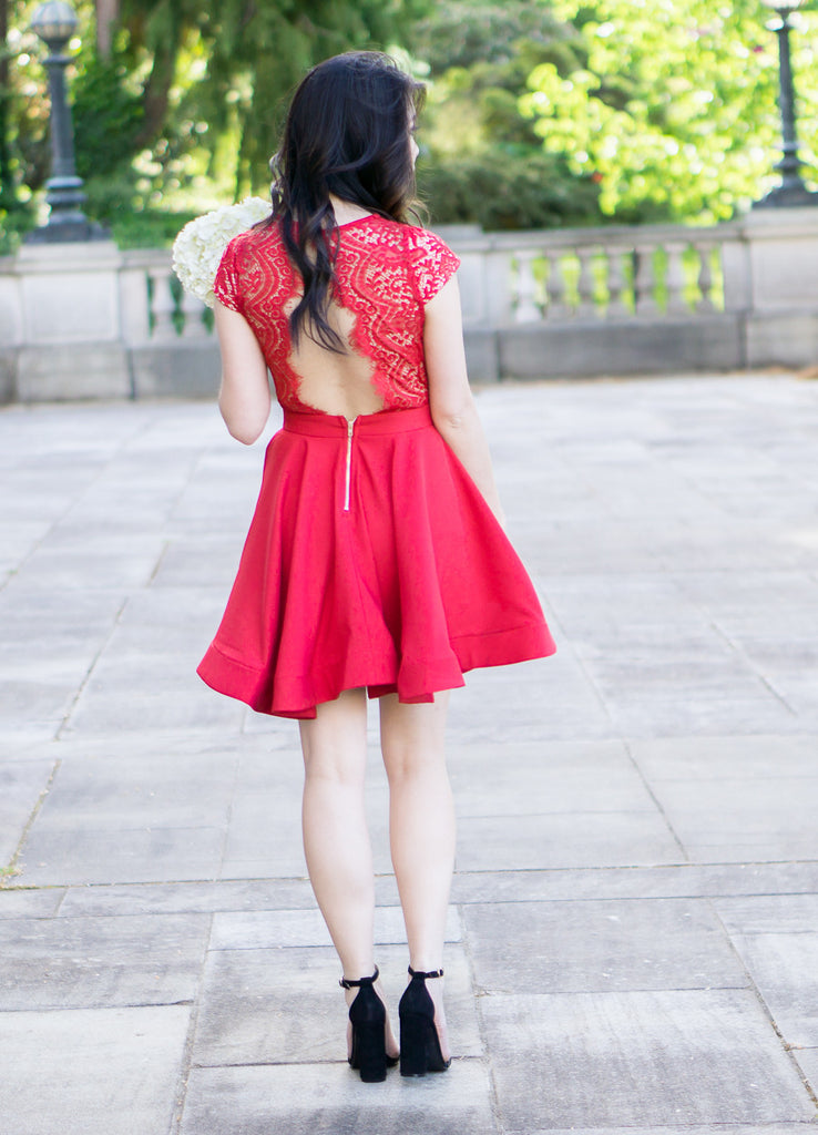 Scalloped Bright Red Lace Dress -  - Dress - COME SHOP WITH LOVE - 6