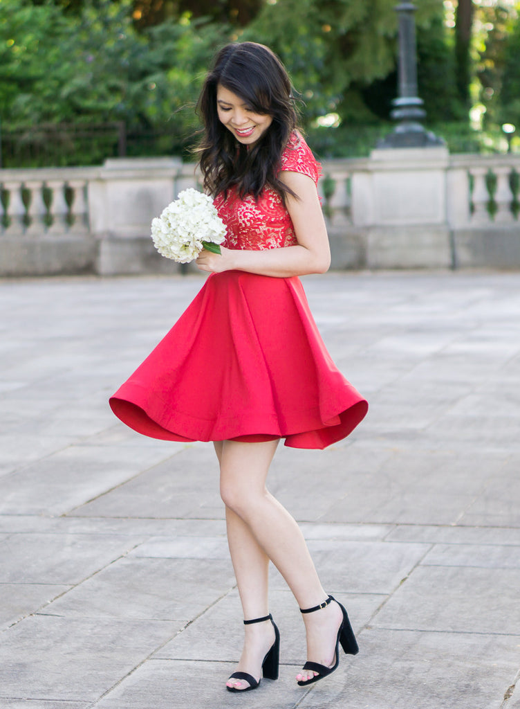 Scalloped Bright Red Lace Dress -  - Dress - COME SHOP WITH LOVE - 3