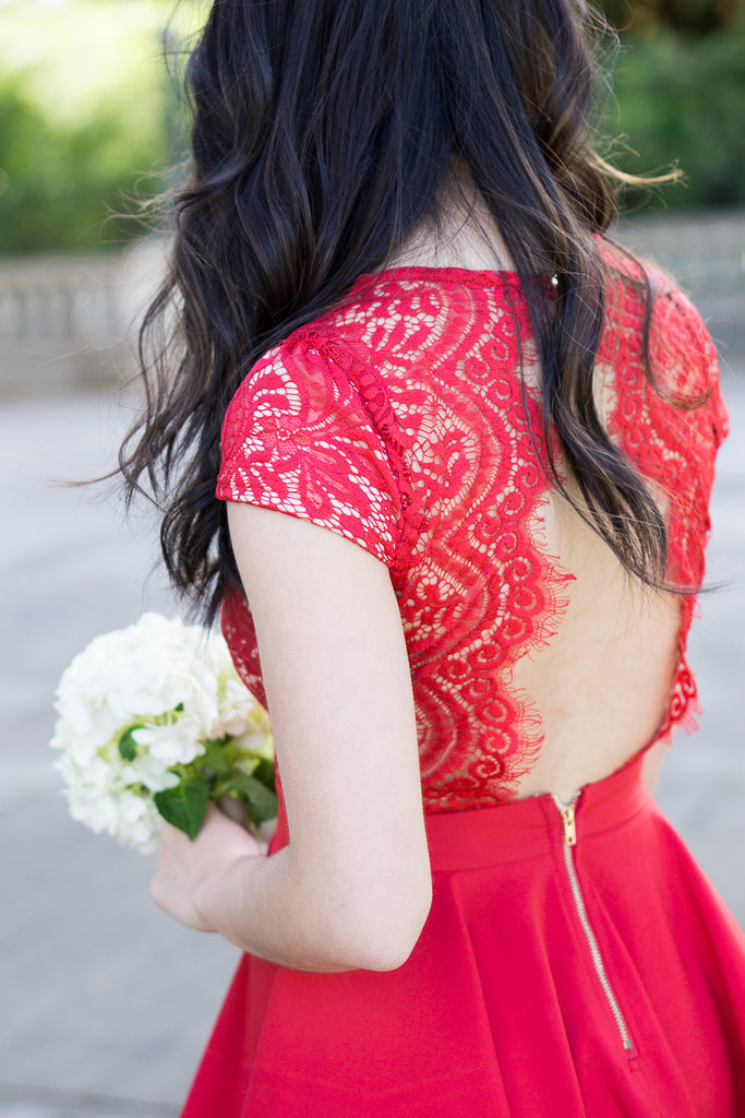 Scalloped Bright Red Lace Dress -  - Dress - COME SHOP WITH LOVE - 4