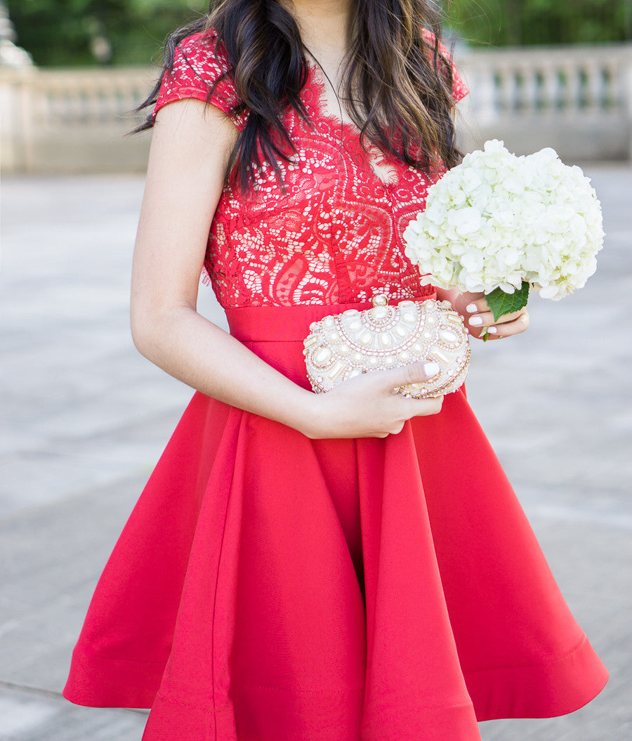 Scalloped Bright Red Lace Dress - COME SHOP WITH LOVE