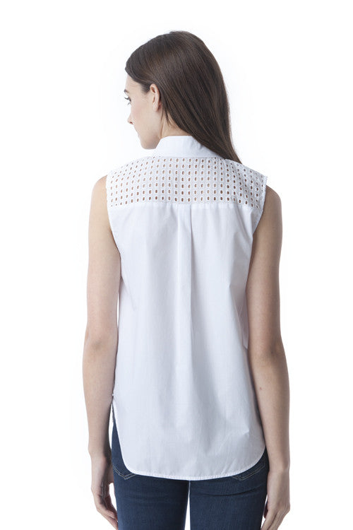 White Collared Die Cut Sleevelss Top -  - Top - COME SHOP WITH LOVE - 2
