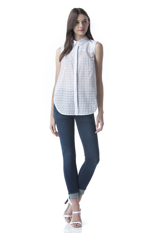 White Collared Die Cut Sleevelss Top -  - Top - COME SHOP WITH LOVE - 4