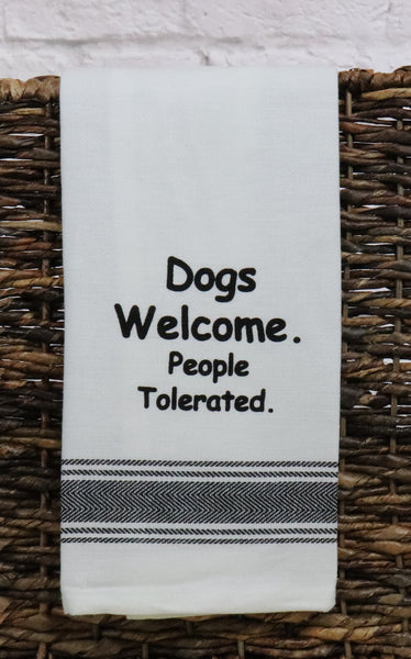 Dogs Welcome Dish Towel