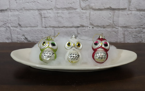 Set of 3 Glass Owl Ornaments