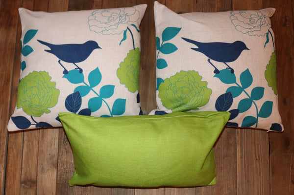 Set of 3 Pillow Covers in a Blue/Green Bird Theme