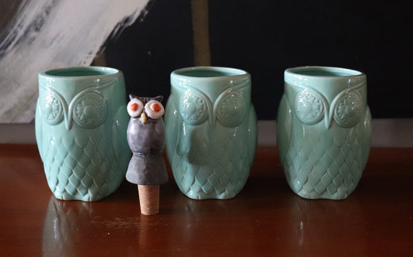 Set of 3 Owl Stoneware Cups