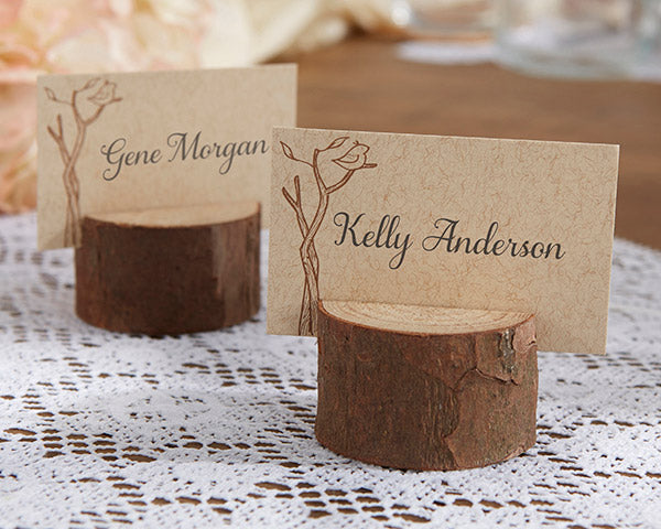 Rustic-Real Wood Place Card/Photo Holder (Set of 4)