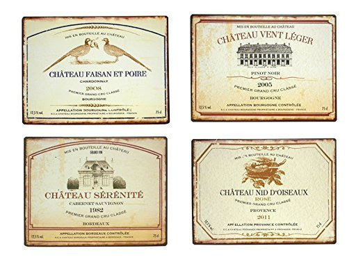 Set of 4 Vintage Wine Label Wall Decor