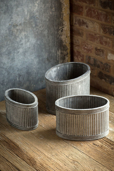 Metal Ribbed Oval Dolly - Set of 3 Planters