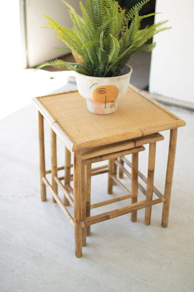 Set of 3 Square Nesting Bamboo Tables
