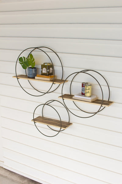 Set of 3 Metal and wood Shelves