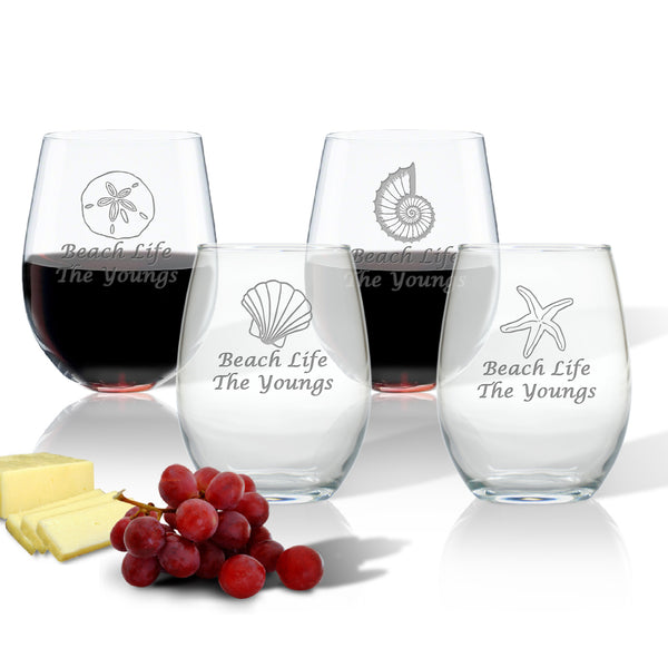 Set of 4 Beach Themed Stemless Wine Glasses