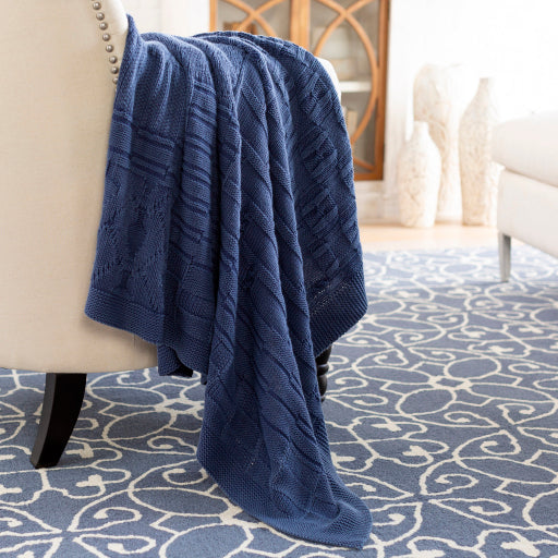 Dark Blue Knitted Throw