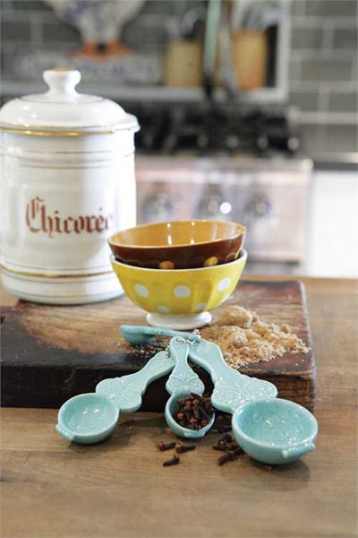 Ceramic Owl Measuring Spoons, Aqua