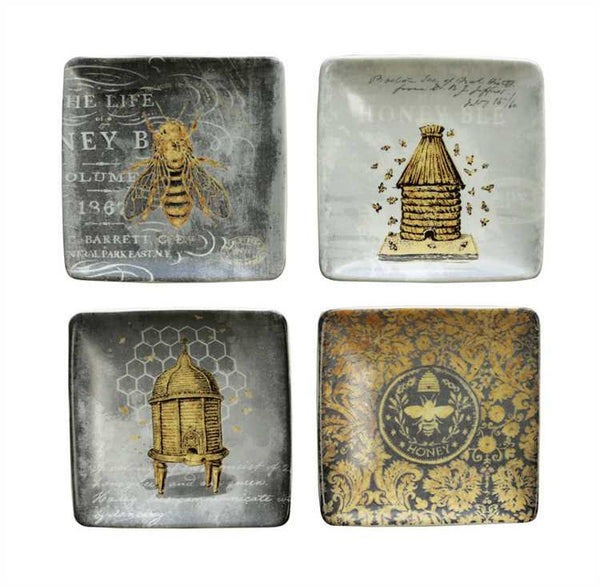 SQUARE STONEWARE PLATE W/ BEES