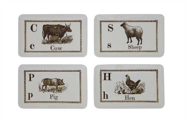STONEWARE PLATE W/ FARM ANIMAL & NAME