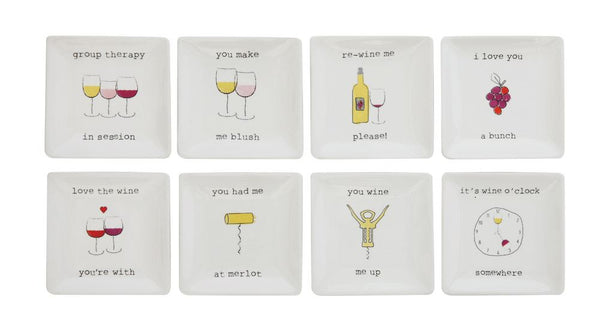 Set of 8 Wine Themed Small Plates