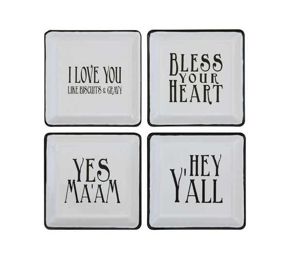 Set of 4 Southern -Themed Enameled Plates