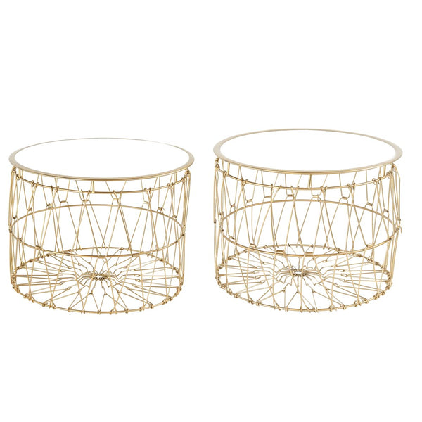 Collapsible Metal Side Tables with Removable White Enamel Tops (Set of 2 Sizes)