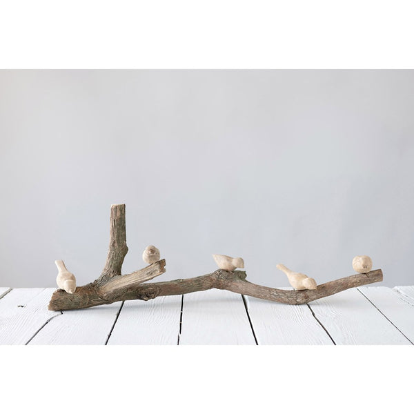 Driftwood Branch with Hand-Carved Mango Wood Birds