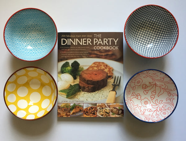 Dinner Party Cookbook and Stoneware Bowl Set