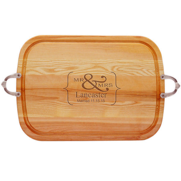 EVERYDAY COLLECTION: LARGE TRAY NUEVO HANDLES PERSONALIZED MR & MRS