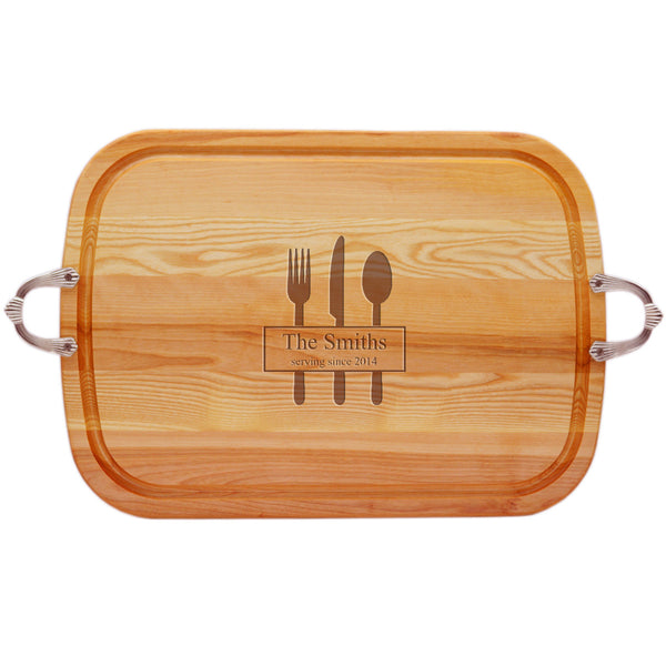 EVERYDAY COLLECTION: LARGE TRAY NUEVO HANDLES PERSONALIZED SERVING SINCE