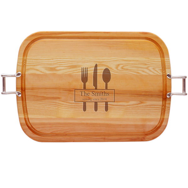 EVERYDAY COLLECTION: LARGE TRAY URBAN HANDLES PERSONALIZED SERVING SINCE