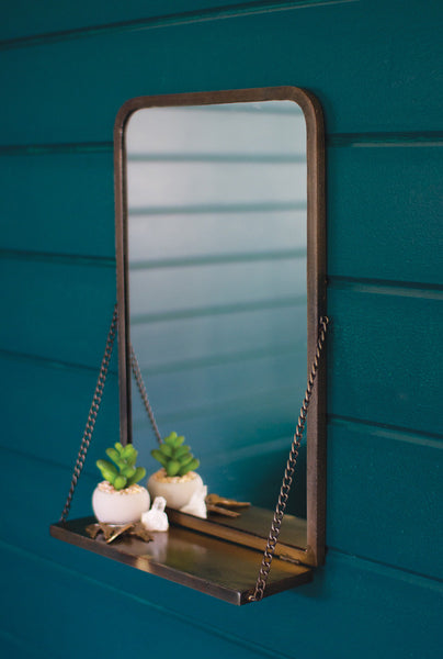 Antique Brass Mirror with Folding Shelf