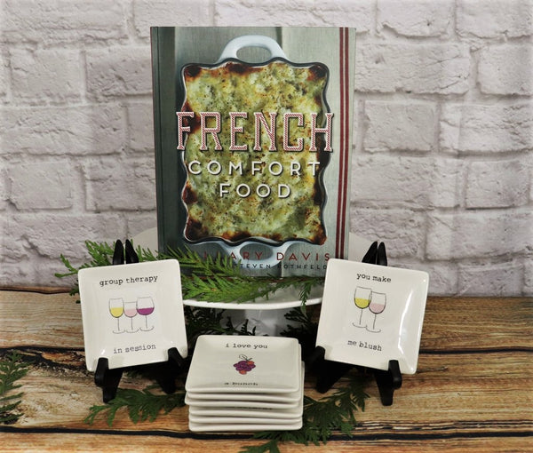 French Themed Cookbook and Set of 8 Small Plates