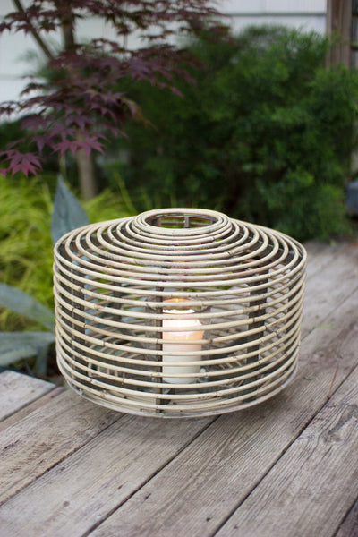LARGE ROUND RATTAN LANTERN WITH GLASS