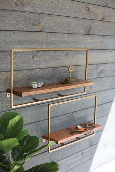 SET OF 2 RECTANGLE IRON AND MANGO WOOD SHELVES
