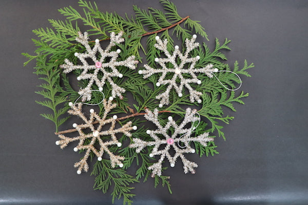 Set of 2 Metal Snowflake Ornaments