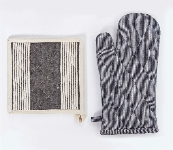 Set of Cotton Oven MItt and Pot Holder