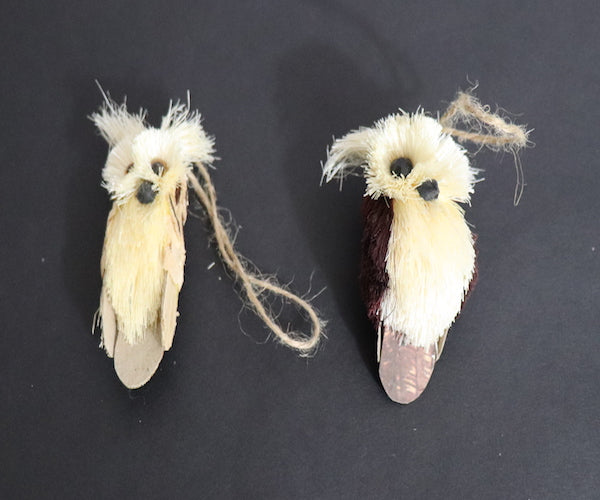 Set of 2 Sisal Owl Ornaments