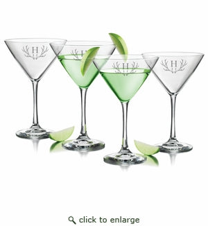 Set of 4 Personalized Antler Martini Glasses