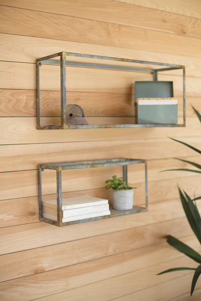 SET OF 2 WOOD & RUSTIC METAL SHELVES