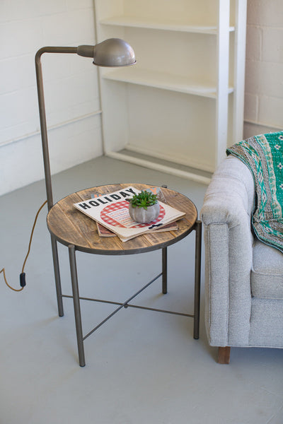 RECYCLED WOOD SIDE TABLE WITH LAMP