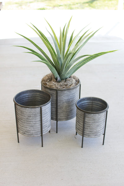 SET OF THREE GALVANIZED METAL PLANTERS WITH IRON BASES