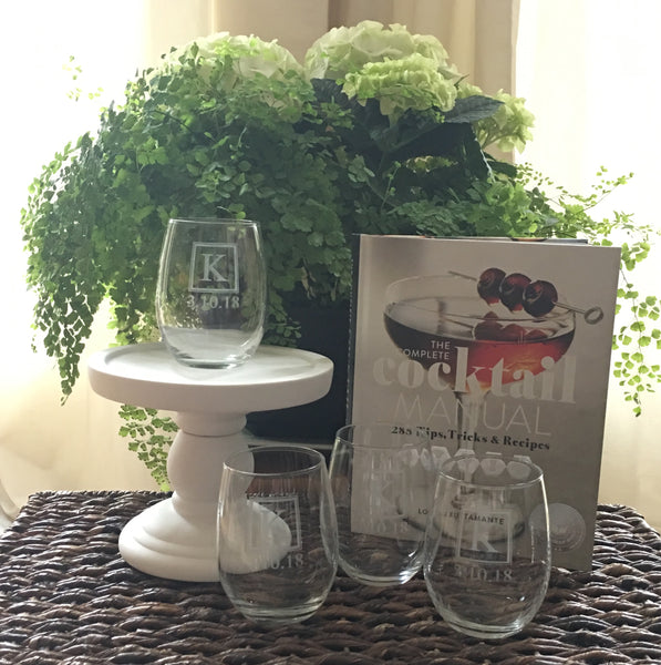 Cocktail Manual and Personalized Wine Glasses