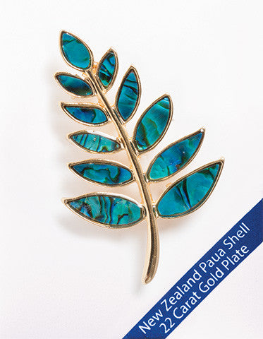 Paua Shell Fern Brooch 22ct Gold Plate
