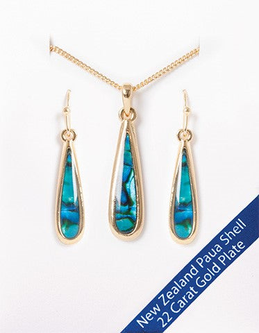 New Zealand Paua Shell Earrings & Pendant Set