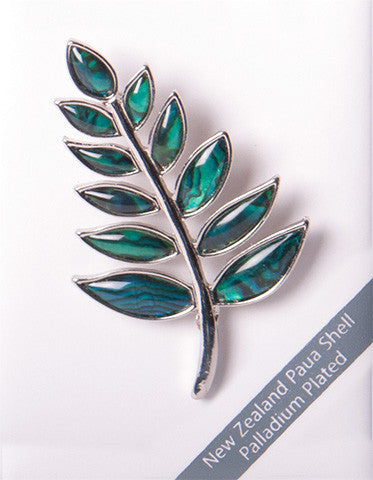 Paua Shell Brooch Fern Palladium Plated