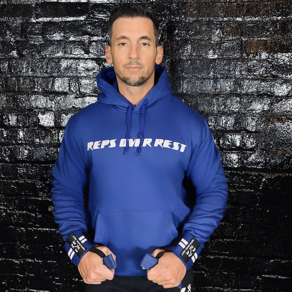 Royal Blue Lifting Sweatshirt - Reps Over Rest
