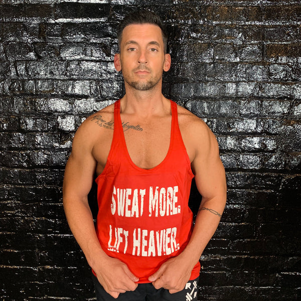 Sweat More Lift Heavier Mens Red Stringer - Reps Over Rest
