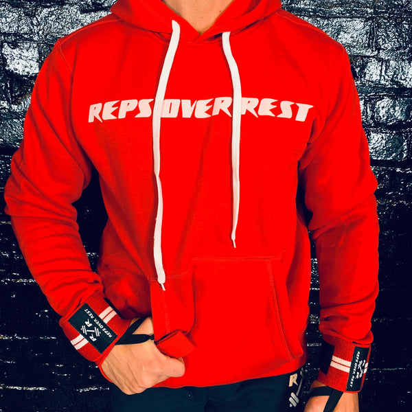 Solid Red Lifting Sweatshirt - Reps Over Rest