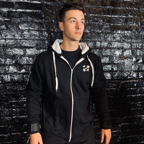 Black & White Zipper Lifting Sweatshirt - Reps Over Rest