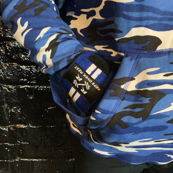 Blue Camo Lifting Sweatshirt - Reps Over Rest